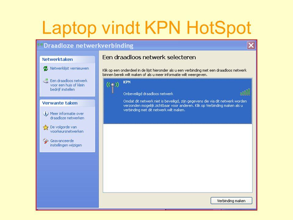 Laptop vindt KPN HotSpot