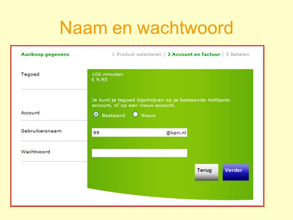 Naam en wachtwoord