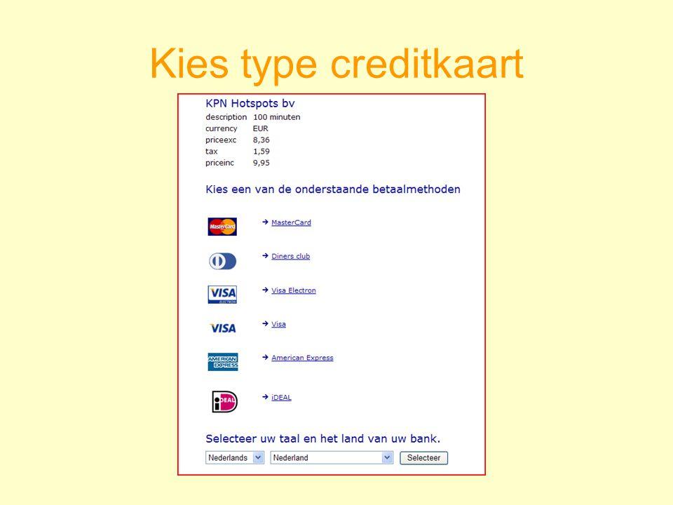 Kies type creditkaart