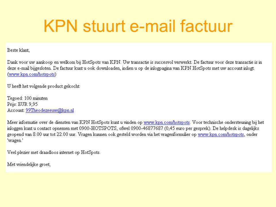 KPN stuurt e-mail factuur