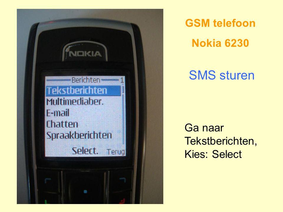 GSM telefoon Nokia 6230 SMS sturen Ga naar Tekstberichten, Kies: Select