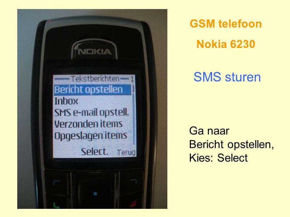 GSM telefoon Nokia 6230 SMS sturen Ga naar Bericht opstellen, Kies: Select