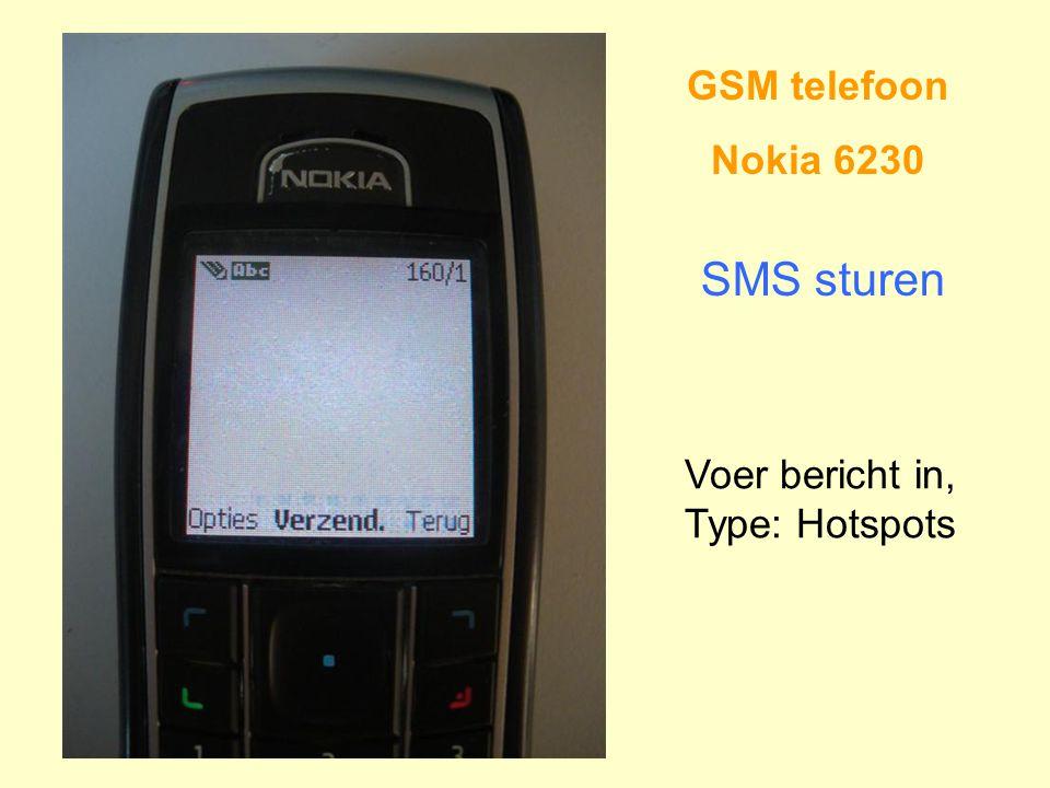 GSM telefoon Nokia 6230 SMS sturen Voer bericht in, Type: Hotspots