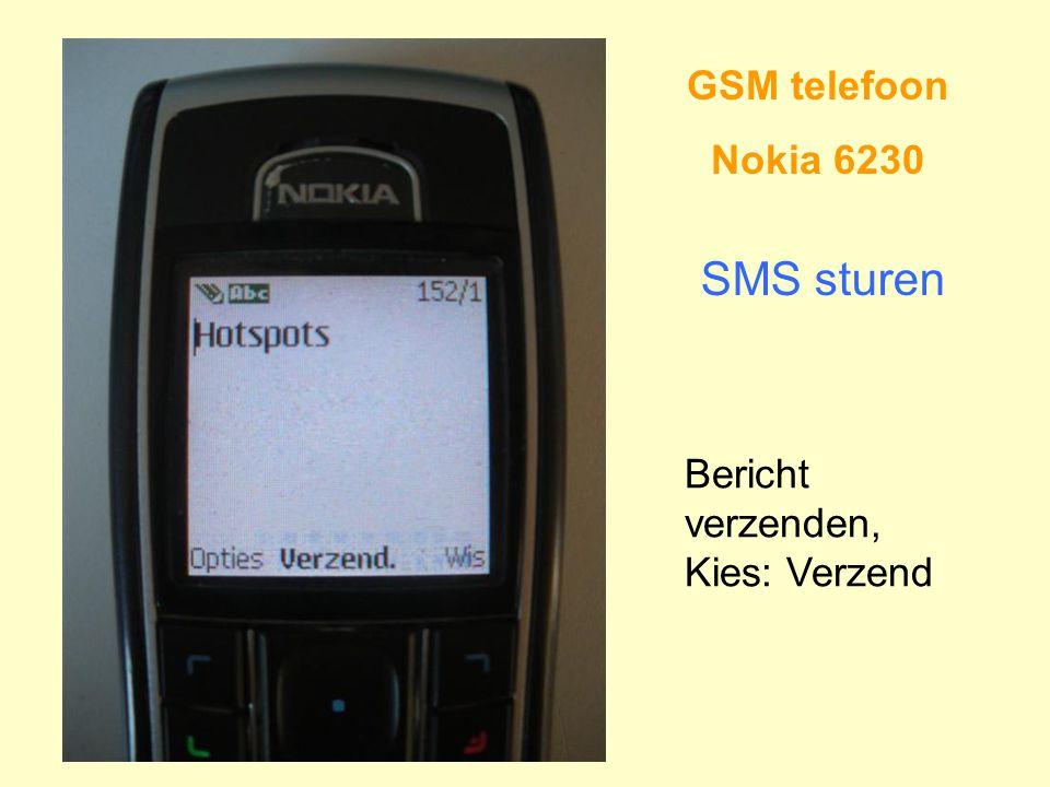 GSM telefoon Nokia 6230 SMS sturen Bericht verzenden, Kies: Verzend