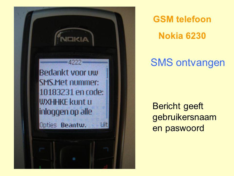 GSM telefoon Nokia 6230 SMS ontvangen Bericht geeft gebruikersnaam en paswoord