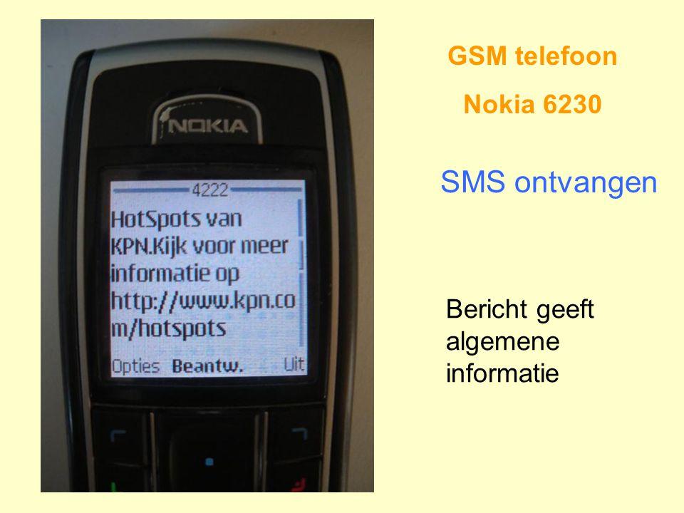 GSM telefoon Nokia 6230 SMS ontvangen Bericht geeft algemene informatie