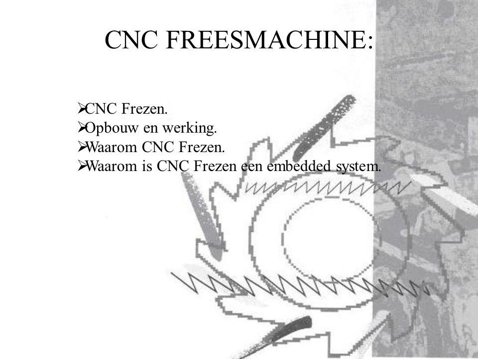  CNC Frezen.  Opbouw en werking.  Waarom CNC Frezen.  Waarom is CNC Frezen een embedded system.