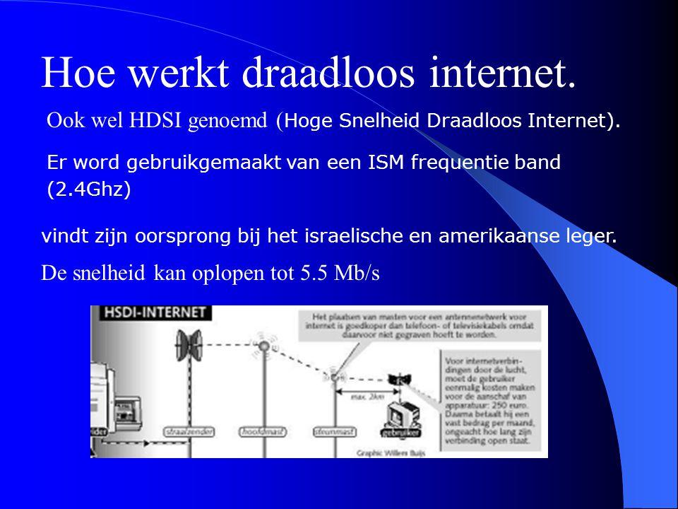 Hoe werkt draadloos internet. Ook wel HDSI genoemd ( Hoge Snelheid Draadloos Internet). Er word gebruikgemaakt van een ISM frequentie band (2.4Ghz) vi