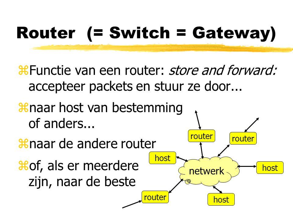 Router (= Switch = Gateway) zFunctie van een router: store and forward: accepteer packets en stuur ze door... netwerk host router znaar host van beste