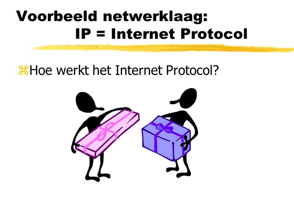Voorbeeld netwerklaag: IP = Internet Protocol zHoe werkt het Internet Protocol?