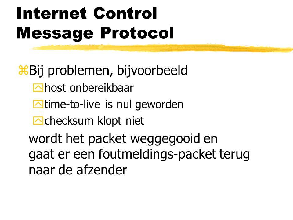 Internet Control Message Protocol zBij problemen, bijvoorbeeld yhost onbereikbaar ytime-to-live is nul geworden ychecksum klopt niet wordt het packet weggegooid en gaat er een foutmeldings-packet terug naar de afzender