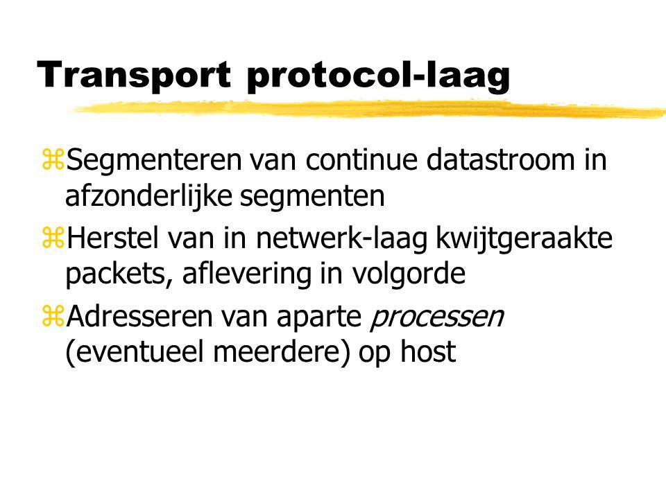 Transport protocol-laag zSegmenteren van continue datastroom in afzonderlijke segmenten zHerstel van in netwerk-laag kwijtgeraakte packets, aflevering in volgorde zAdresseren van aparte processen (eventueel meerdere) op host