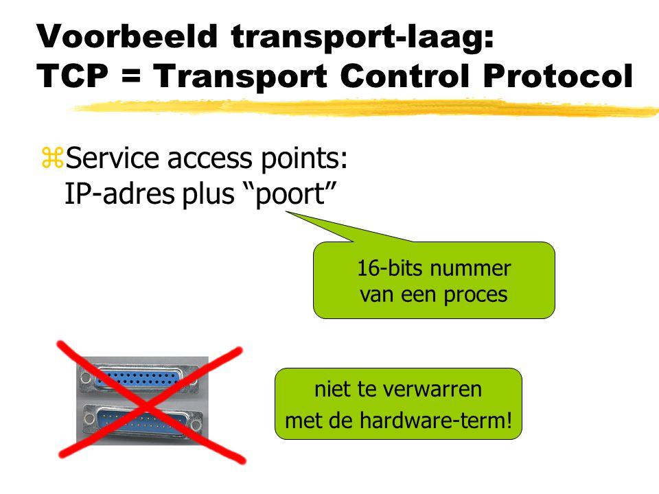 Voorbeeld transport-laag: TCP = Transport Control Protocol zService access points: IP-adres plus poort 16-bits nummer van een proces niet te verwarren met de hardware-term!