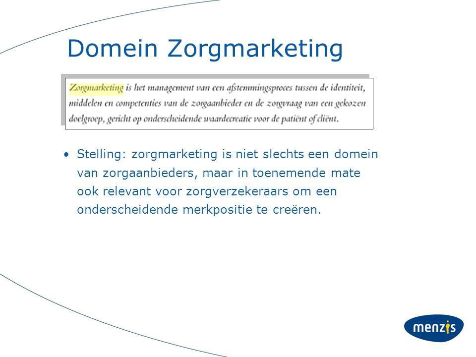 Domein Zorgmarketing Stelling: zorgmarketing is niet slechts een domein van zorgaanbieders, maar in toenemende mate ook relevant voor zorgverzekeraars om een onderscheidende merkpositie te creëren.