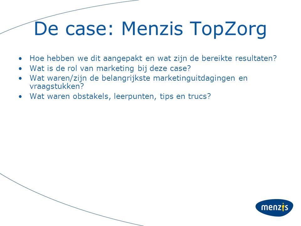 De case: Menzis TopZorg Hoe hebben we dit aangepakt en wat zijn de bereikte resultaten? Wat is de rol van marketing bij deze case? Wat waren/zijn de b
