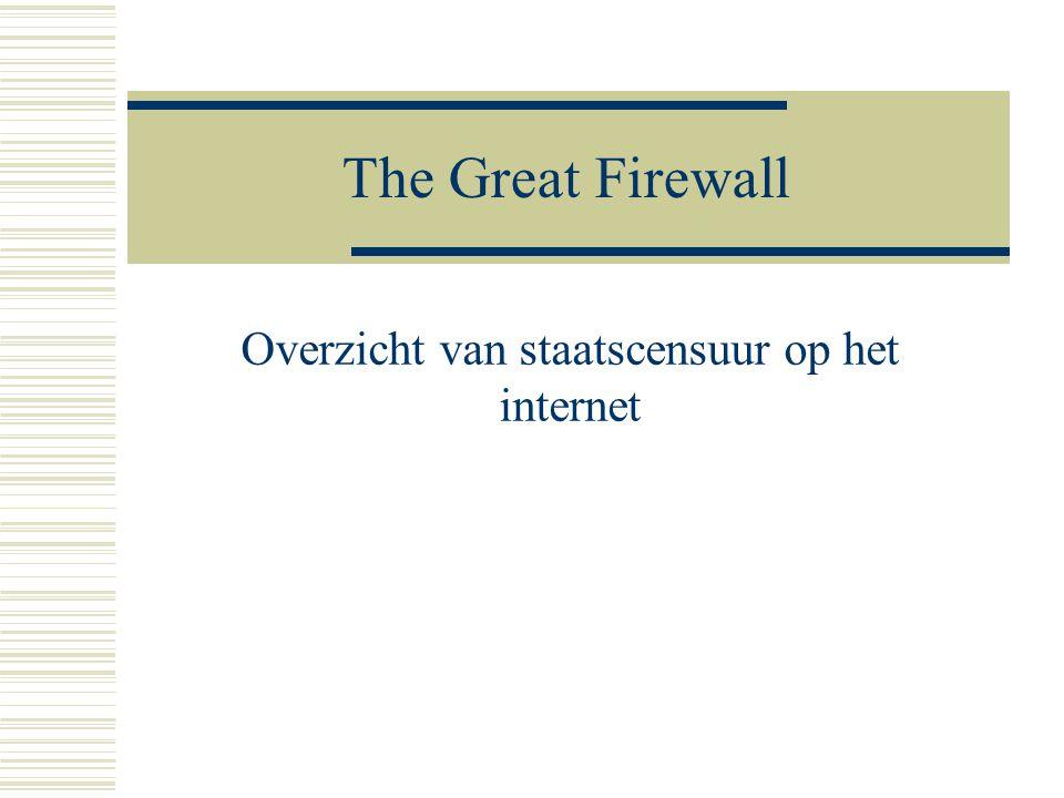 The Great Firewall Overzicht van staatscensuur op het internet