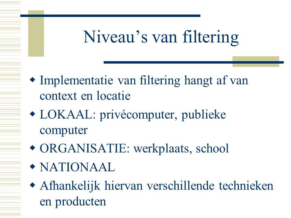 Niveau's van filtering  Implementatie van filtering hangt af van context en locatie  LOKAAL: privécomputer, publieke computer  ORGANISATIE: werkplaats, school  NATIONAAL  Afhankelijk hiervan verschillende technieken en producten