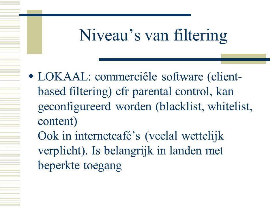Niveau's van filtering  LOKAAL: commerciêle software (client- based filtering) cfr parental control, kan geconfigureerd worden (blacklist, whitelist, content) Ook in internetcafé's (veelal wettelijk verplicht).