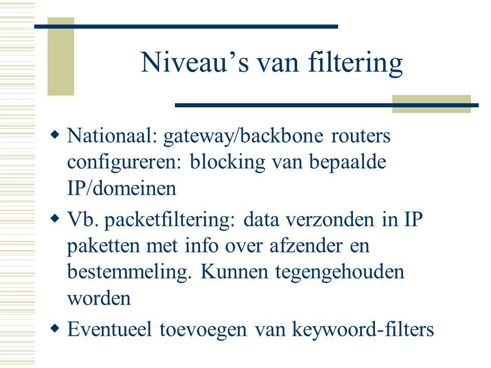 Niveau's van filtering  Nationaal: gateway/backbone routers configureren: blocking van bepaalde IP/domeinen  Vb.