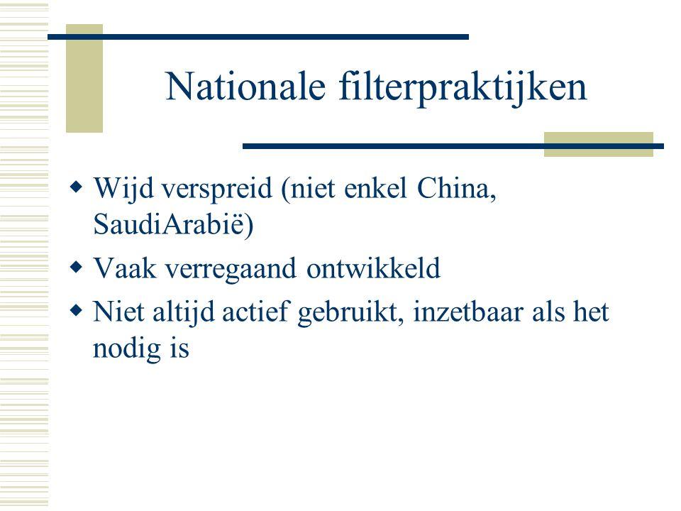 Nationale filterpraktijken  Wijd verspreid (niet enkel China, SaudiArabië)  Vaak verregaand ontwikkeld  Niet altijd actief gebruikt, inzetbaar als het nodig is