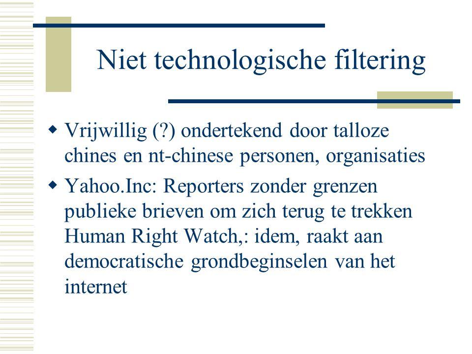 Niet technologische filtering  Vrijwillig (?) ondertekend door talloze chines en nt-chinese personen, organisaties  Yahoo.Inc: Reporters zonder grenzen publieke brieven om zich terug te trekken Human Right Watch,: idem, raakt aan democratische grondbeginselen van het internet