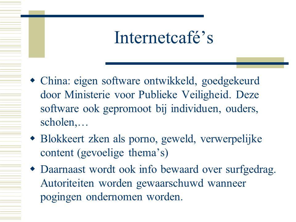 Internetcafé's  China: eigen software ontwikkeld, goedgekeurd door Ministerie voor Publieke Veiligheid.