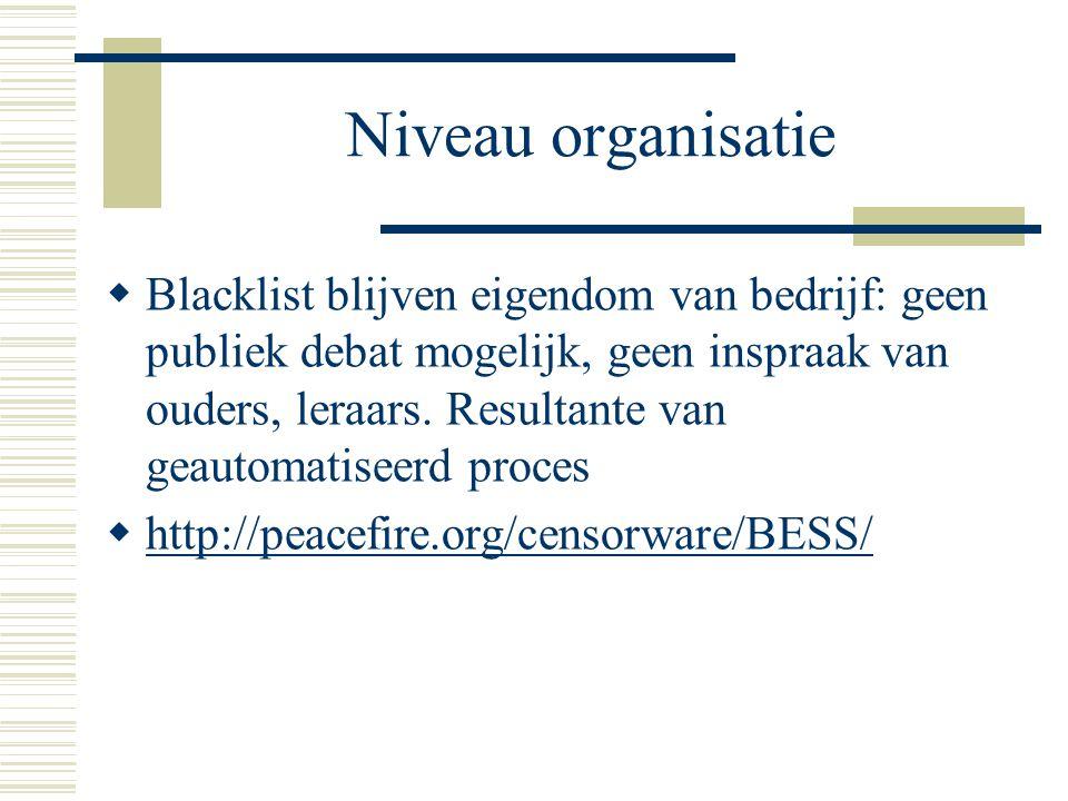 Niveau organisatie  Blacklist blijven eigendom van bedrijf: geen publiek debat mogelijk, geen inspraak van ouders, leraars.