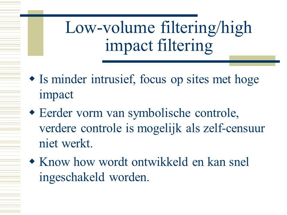 Low-volume filtering/high impact filtering  Is minder intrusief, focus op sites met hoge impact  Eerder vorm van symbolische controle, verdere controle is mogelijk als zelf-censuur niet werkt.