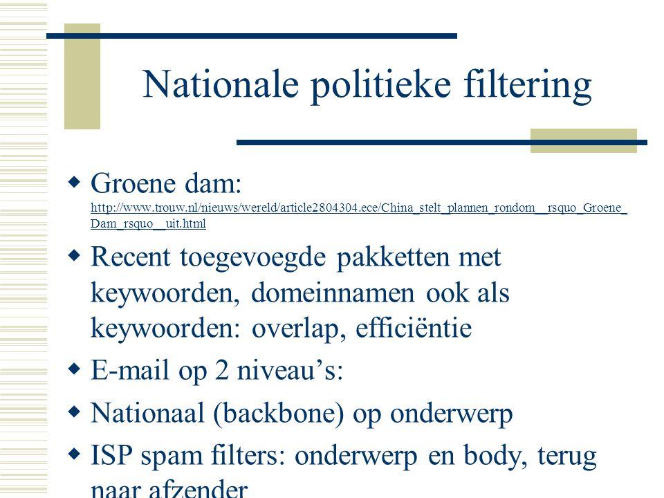Nationale politieke filtering  Groene dam: http://www.trouw.nl/nieuws/wereld/article2804304.ece/China_stelt_plannen_rondom__rsquo_Groene_ Dam_rsquo__uit.html http://www.trouw.nl/nieuws/wereld/article2804304.ece/China_stelt_plannen_rondom__rsquo_Groene_ Dam_rsquo__uit.html  Recent toegevoegde pakketten met keywoorden, domeinnamen ook als keywoorden: overlap, efficiëntie  E-mail op 2 niveau's:  Nationaal (backbone) op onderwerp  ISP spam filters: onderwerp en body, terug naar afzender