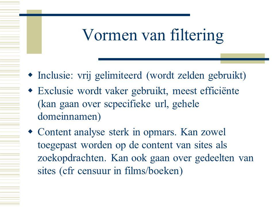 Vormen van filtering  Inclusie: vrij gelimiteerd (wordt zelden gebruikt)  Exclusie wordt vaker gebruikt, meest efficiënte (kan gaan over scpecifieke url, gehele domeinnamen)  Content analyse sterk in opmars.