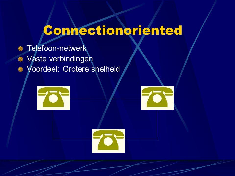 Connectionoriented Telefoon-netwerk Vaste verbindingen Voordeel: Grotere snelheid