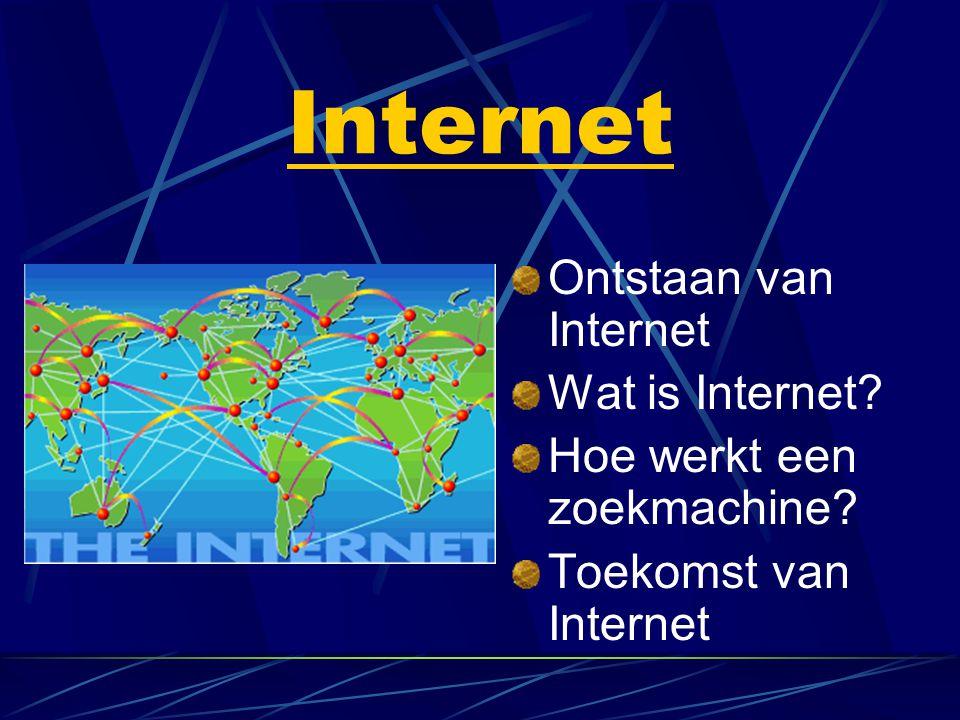 Ontstaan van Internet Begin jaren '60 Amerikaanse leger NetwerkArpaNet