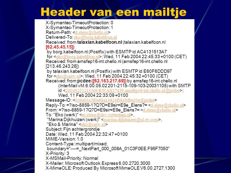 Header van een mailtje X-Symantec-TimeoutProtection: 0 X-Symantec-TimeoutProtection: 1 Return-Path: Delivered-To: eko@borg.kabelfoon.nl Received: from