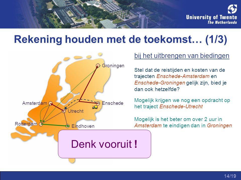 14/19 Rekening houden met de toekomst… (1/3) bij het uitbrengen van biedingen Amsterdam Groningen Enschede Utrecht Eindhoven Rotterdam Stel dat de reistijden en kosten van de trajecten Enschede-Amsterdam en Enschede-Groningen gelijk zijn, bied je dan ook hetzelfde.