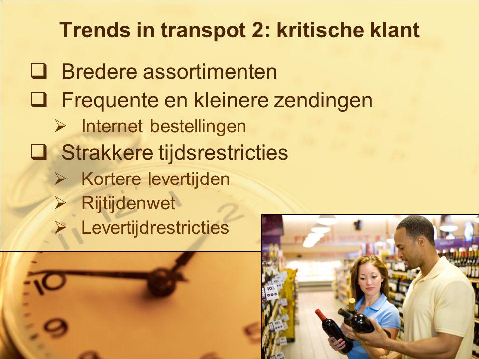 4/19 Trends in transpot 2: kritische klant  Bredere assortimenten  Frequente en kleinere zendingen  Internet bestellingen  Strakkere tijdsrestricties  Kortere levertijden  Rijtijdenwet  Levertijdrestricties