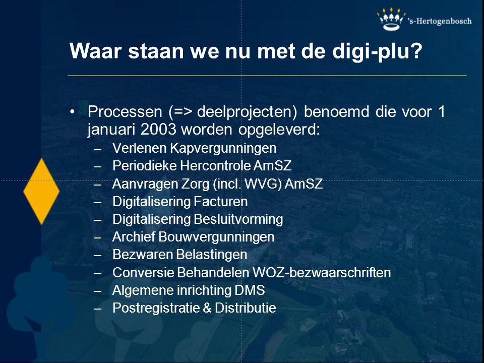 Waar staan we nu met de digi-plu? Processen (=> deelprojecten) benoemd die voor 1 januari 2003 worden opgeleverd: – Verlenen Kapvergunningen – Periodi