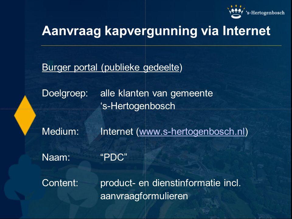 Aanvraag kapvergunning via Internet Burger portal (publieke gedeelte) Doelgroep:alle klanten van gemeente 's-Hertogenbosch Medium:Internet (www.s-hert