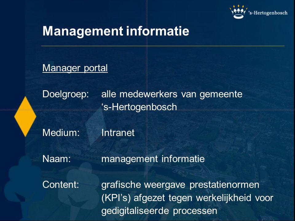 Management informatie Manager portal Doelgroep:alle medewerkers van gemeente 's-Hertogenbosch Medium:Intranet Naam:management informatie Content:grafi