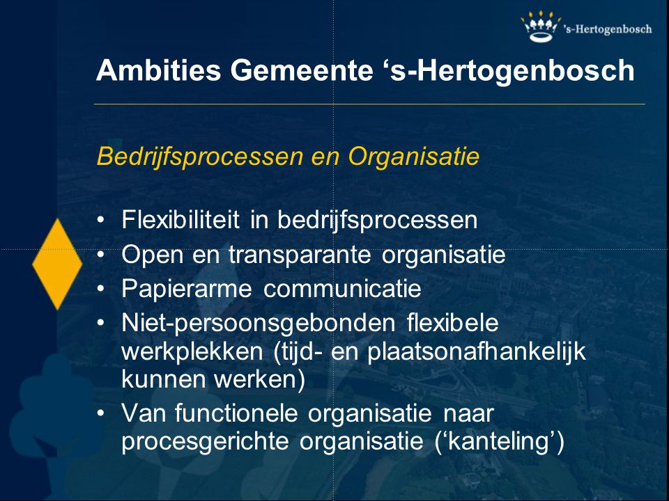 Aanvraag kapvergunning via Internet Burger portal (publieke gedeelte) Doelgroep:alle klanten van gemeente 's-Hertogenbosch Medium:Internet (www.s-hertogenbosch.nl)www.s-hertogenbosch.nl Naam: PDC Content:product- en dienstinformatie incl.