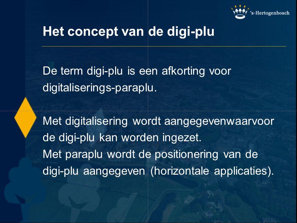 Het concept van de digi-plu De term digi-plu is een afkorting voor digitaliserings-paraplu. Met digitalisering wordt aangegevenwaarvoor de digi-plu ka