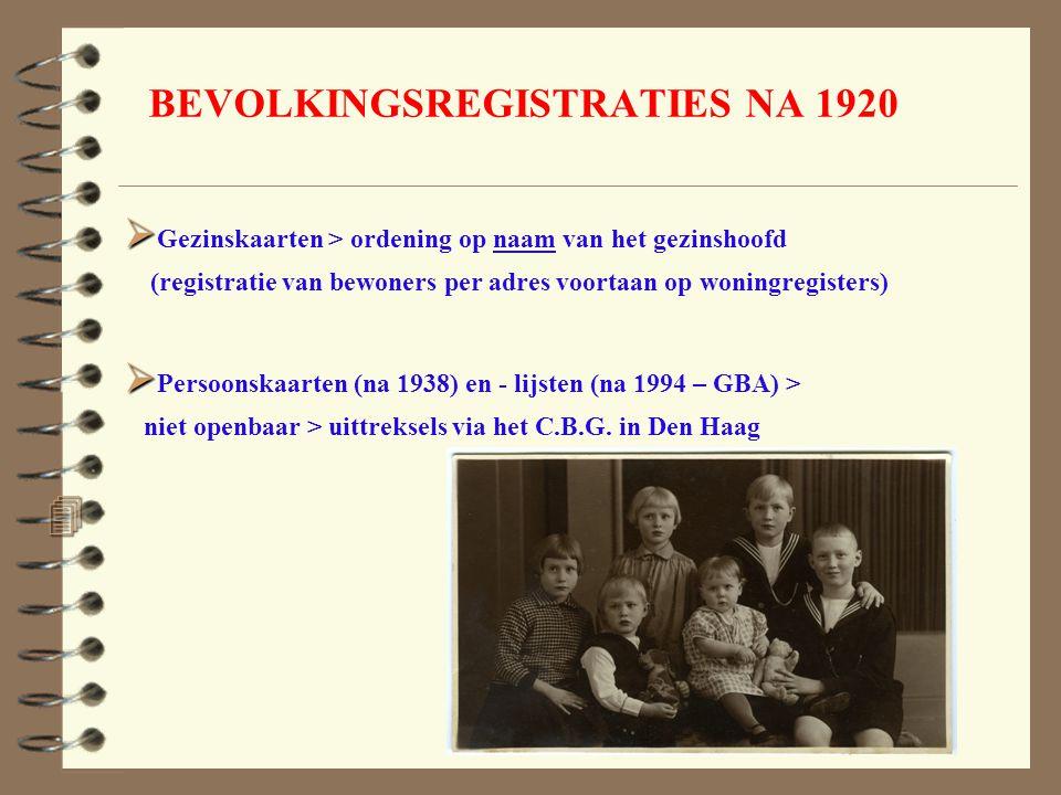 BEVOLKINGSREGISTRATIES NA 1920 4 4.   Gezinskaarten > ordening op naam van het gezinshoofd (registratie van bewoners per adres voortaan op woningreg