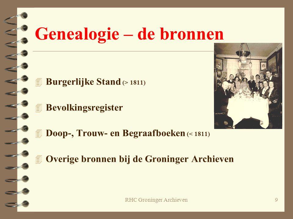 9 Genealogie – de bronnen 4 Burgerlijke Stand (> 1811) 4 Bevolkingsregister 4 Doop-, Trouw- en Begraafboeken (< 1811) 4 Overige bronnen bij de Groning