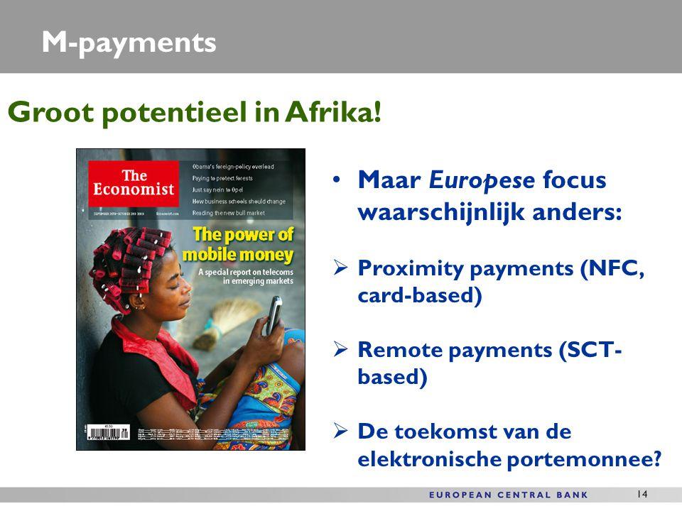 14 M-payments Maar Europese focus waarschijnlijk anders:  Proximity payments (NFC, card-based)  Remote payments (SCT- based)  De toekomst van de el