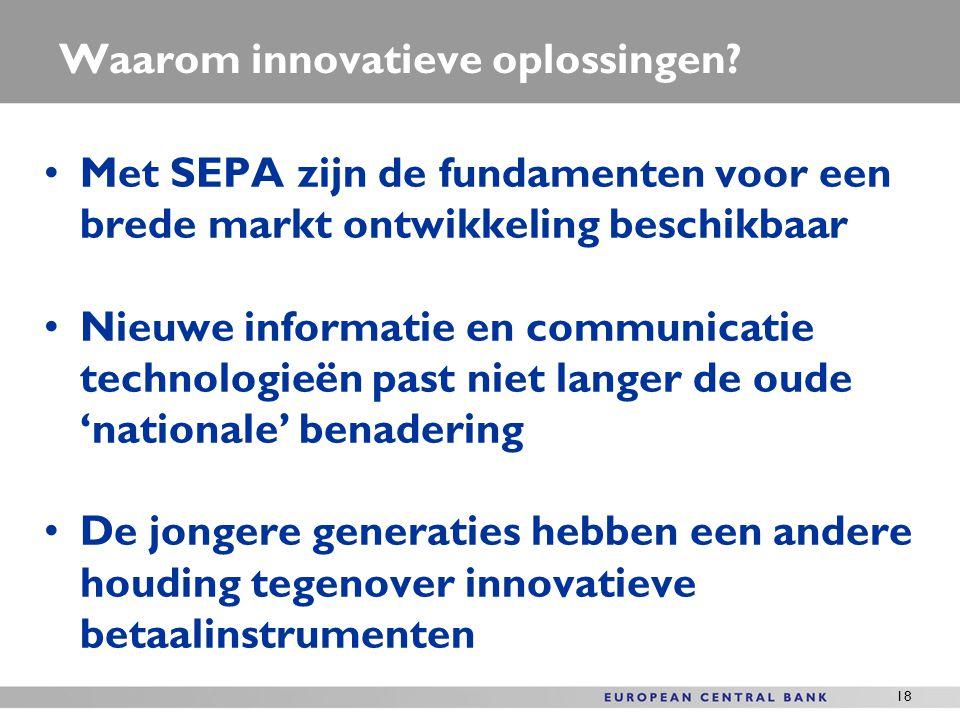 18 Waarom innovatieve oplossingen? Met SEPA zijn de fundamenten voor een brede markt ontwikkeling beschikbaar Nieuwe informatie en communicatie techno