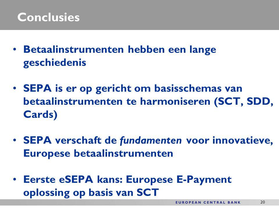 20 Conclusies Betaalinstrumenten hebben een lange geschiedenis SEPA is er op gericht om basisschemas van betaalinstrumenten te harmoniseren (SCT, SDD,