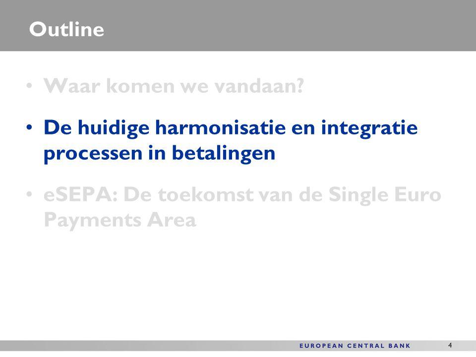 4 Outline Waar komen we vandaan? De huidige harmonisatie en integratie processen in betalingen eSEPA: De toekomst van de Single Euro Payments Area