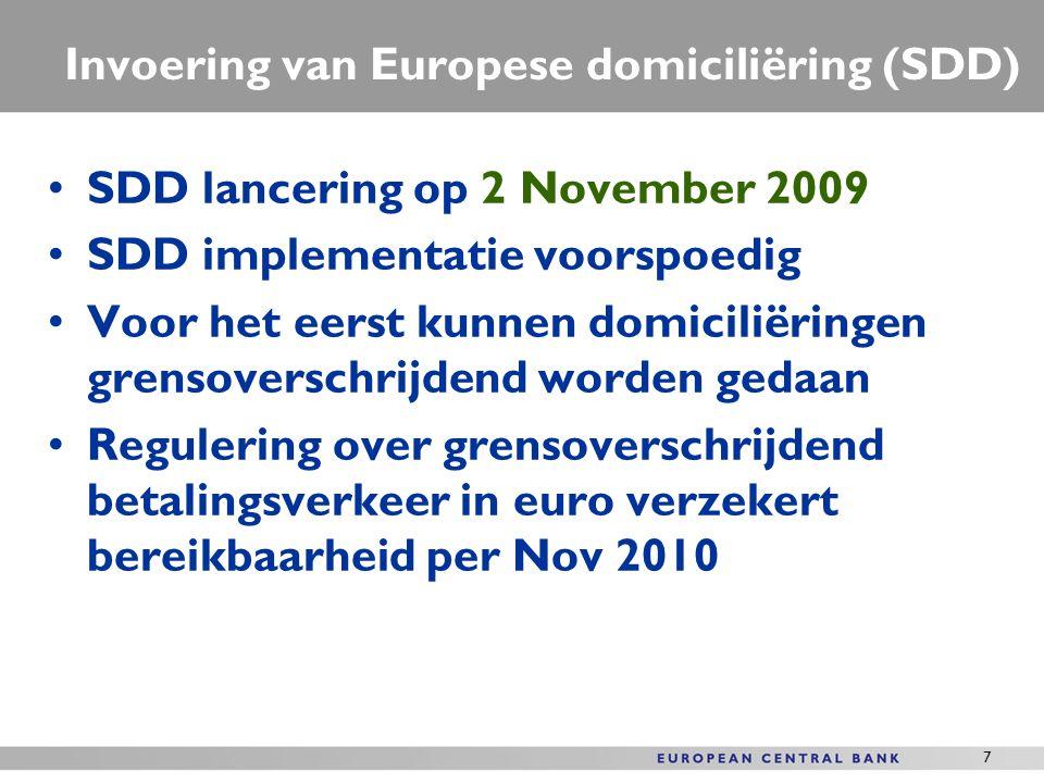 7 Invoering van Europese domiciliëring (SDD) SDD lancering op 2 November 2009 SDD implementatie voorspoedig Voor het eerst kunnen domiciliëringen gren