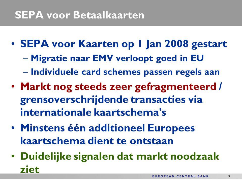 8 SEPA voor Betaalkaarten SEPA voor Kaarten op 1 Jan 2008 gestart –Migratie naar EMV verloopt goed in EU –Individuele card schemes passen regels aan M