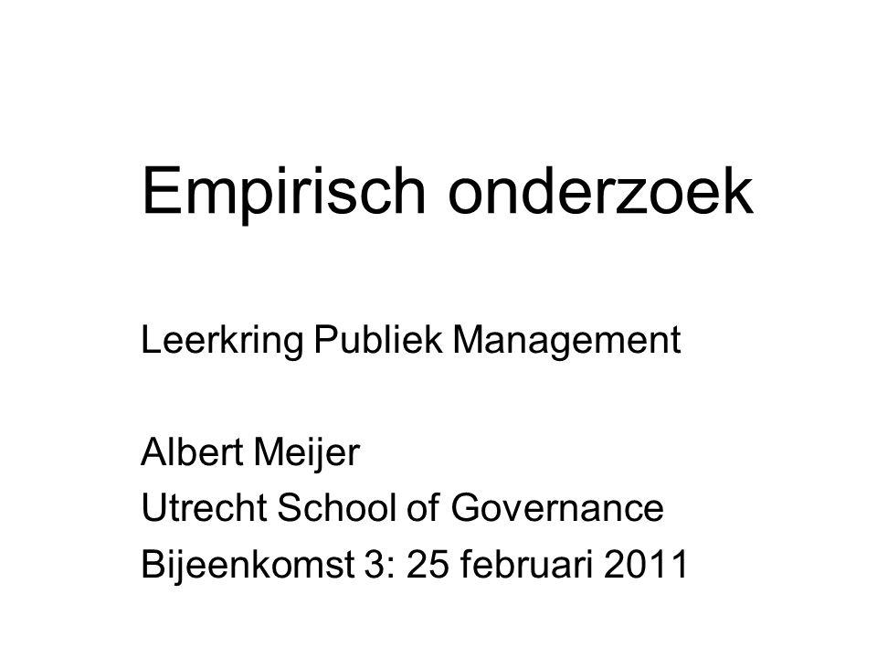 Empirisch onderzoek Leerkring Publiek Management Albert Meijer Utrecht School of Governance Bijeenkomst 3: 25 februari 2011