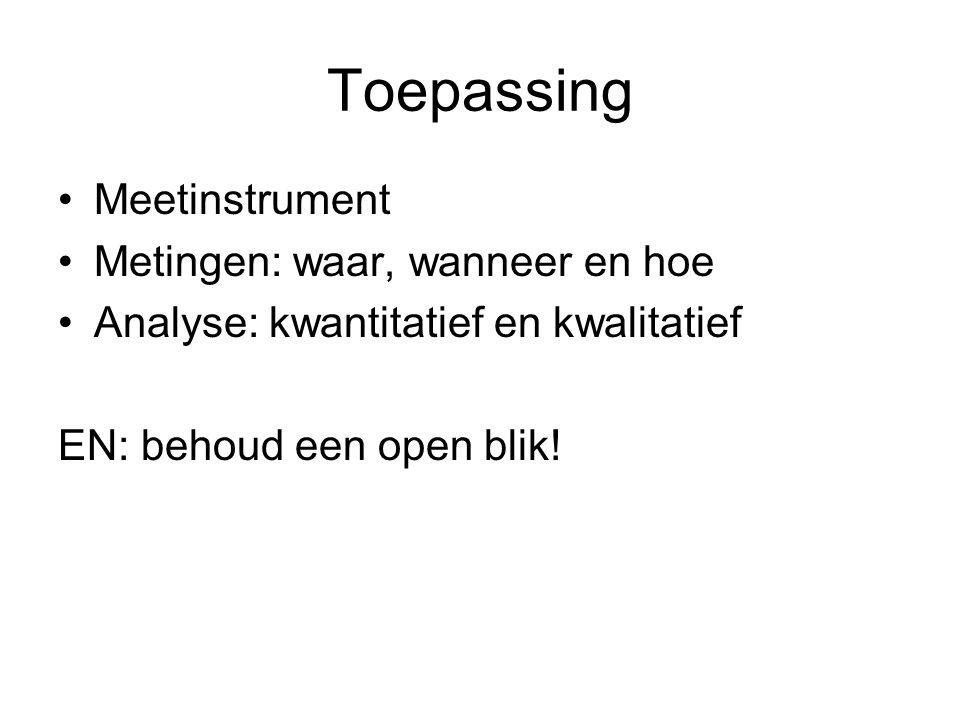 Toepassing Meetinstrument Metingen: waar, wanneer en hoe Analyse: kwantitatief en kwalitatief EN: behoud een open blik!